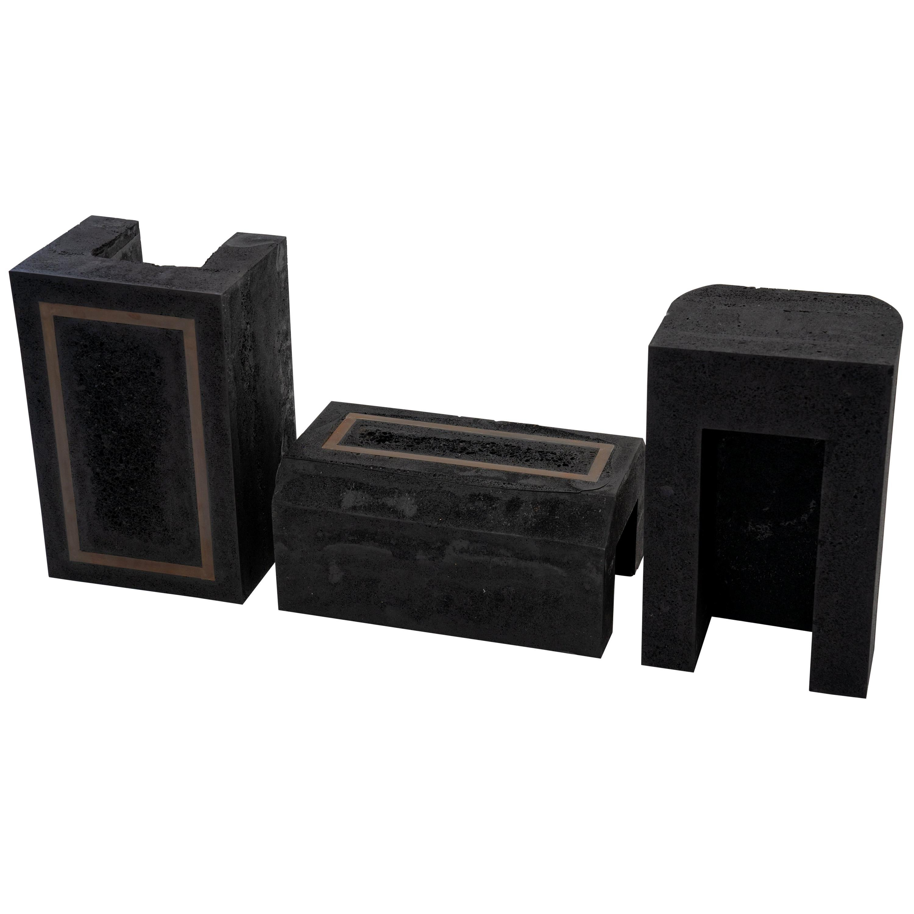 Set of 3 Modern Side Tables Contemporary Handmade, Graphite, Resin, Steel Inlay