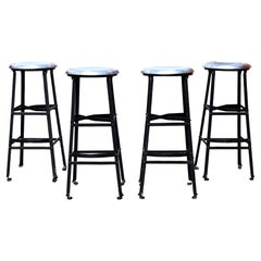 Contemporary Set of 4 Metal Bar Counter Stools Seats