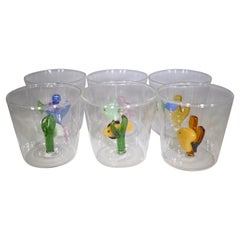 Contemporary Set of 6 Colorful Blown Glass Fish Tumblers