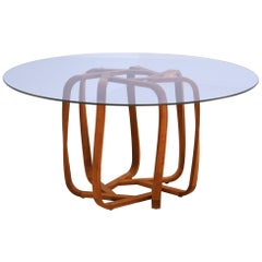 Contemporary Sette Circular Table with Solid Cherry Wood Base and Glass Top