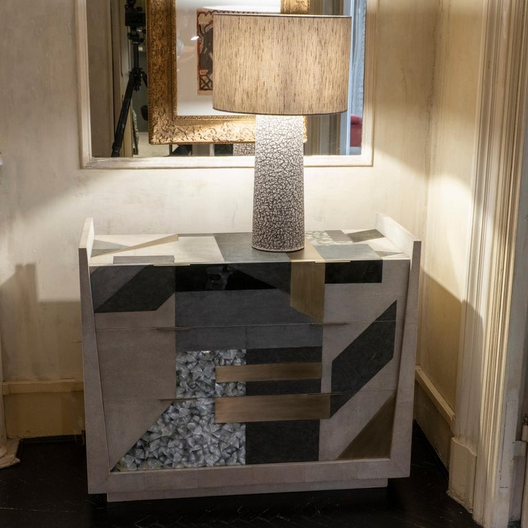 Contemporary Shagreen / Penshell / Brass  Chest of Drawers, France, 2018 For Sale 11