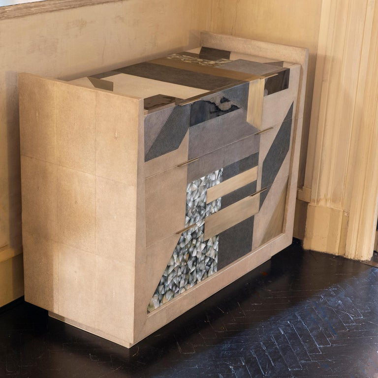 French Contemporary Shagreen / Penshell / Brass  Chest of Drawers, France, 2018 For Sale