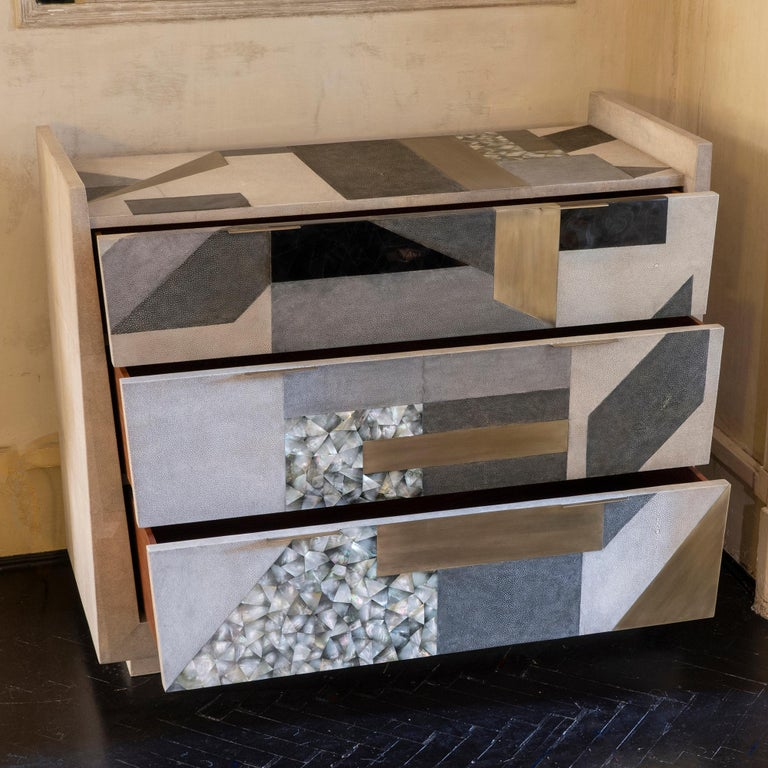 2010s Contemporary Shagreen / Penshell / Brass  Chest of Drawers, France, 2018 For Sale