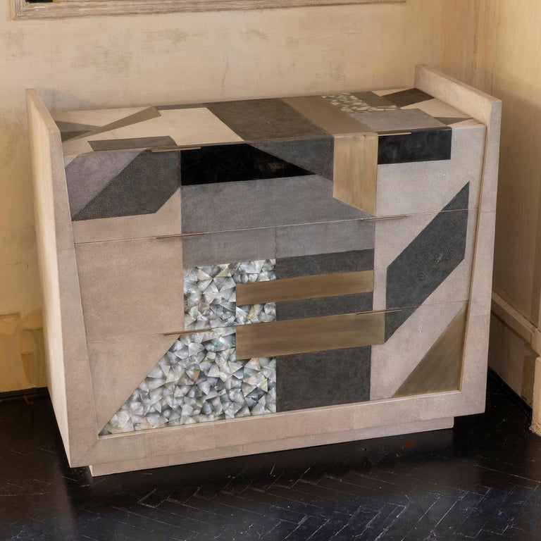 Contemporary Shagreen / Penshell / Brass  Chest of Drawers, France, 2018 For Sale 4