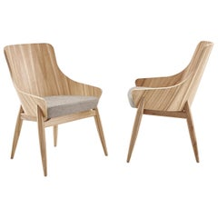 Contemporary Shell Curved Back Dining Chair with Fabric Seat