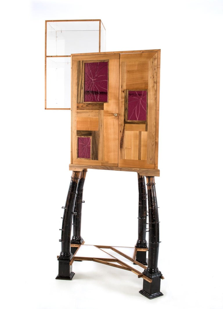 Woodwork Contemporary Showcase Crooked Balance, Antique Columns in Wood, Acrylic, Murano For Sale