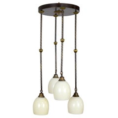 Contemporary Shower Chandelier with Cream Glass Shades and Rope Brass Stems