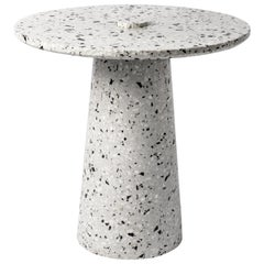 Contemporary Side Table '8' in White Terrazzo