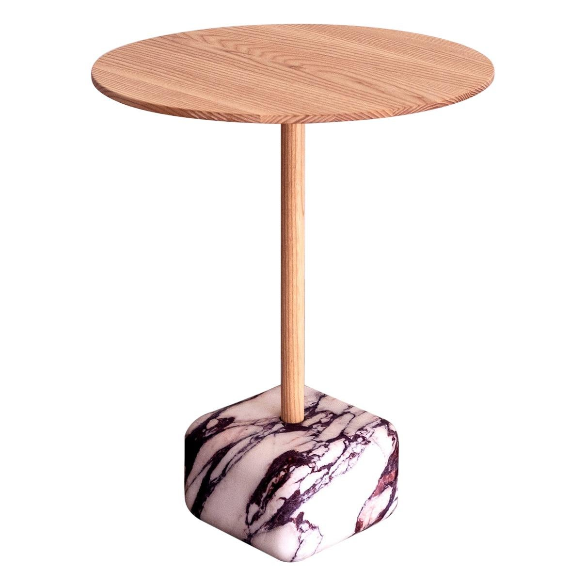 Contemporary Side Table, Arabescato Viola Marble and Ash Wood by Erik Olovsson
