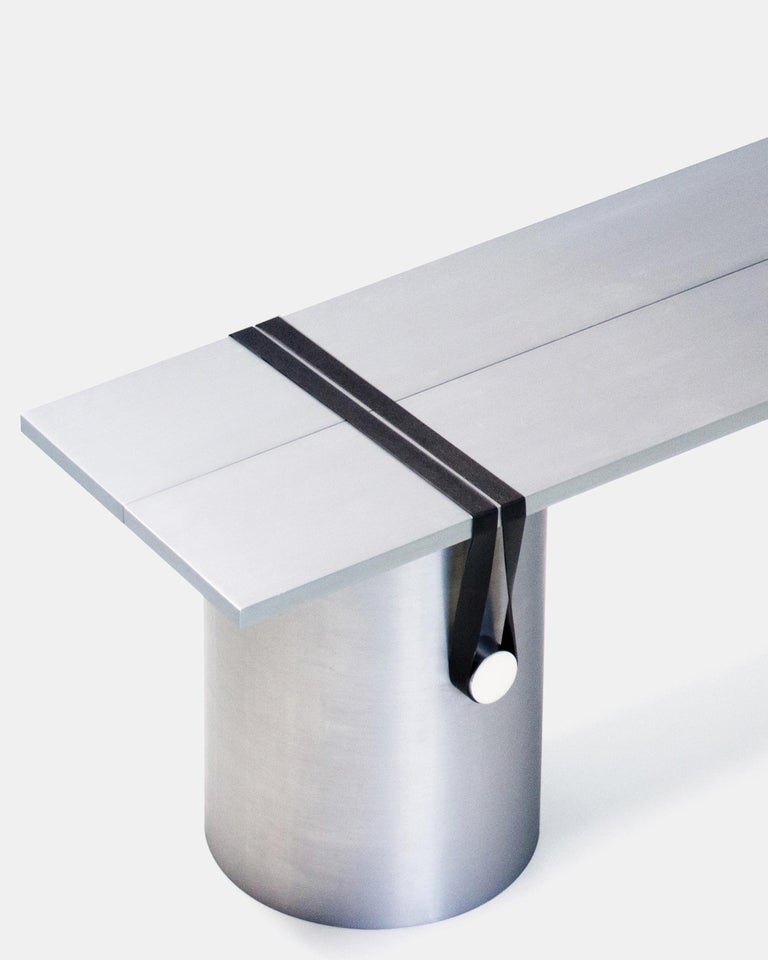 Contemporary side table/bench by Johan Viladrich Bench/table Anodised aluminum, rubber Size: L 160, W 40, H 40 cm Approximate 60kg Limited Edition of 5 + 1AP  The table is composed of two brushed aluminium plates leaning onto three lightly