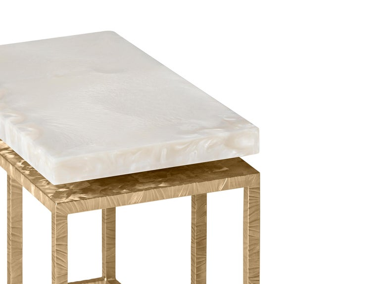 Modern Contemporary Side Table by Hessentia in Artistic White Resin and Frosted Metal  For Sale
