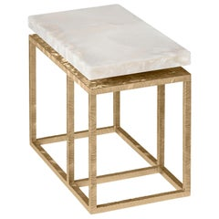 Contemporary Side Table by Hessentia in Artistic White Resin and Frosted Metal