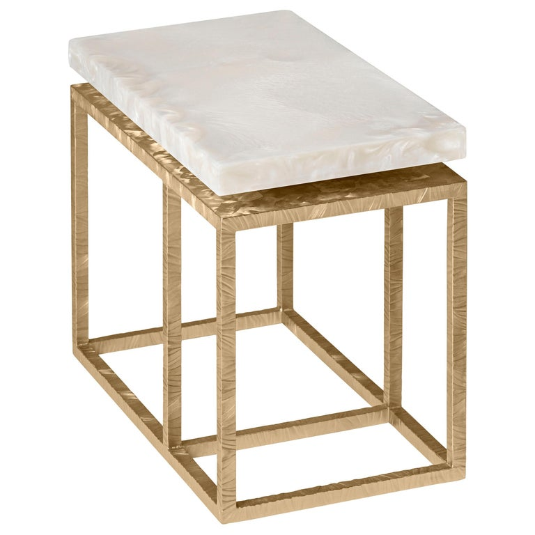 Contemporary Side Table by Hessentia in Artistic White Resin and Frosted Metal  For Sale
