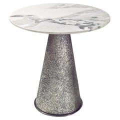 Contemporary Side Table by Hessentia with Marble Top and Artistic Finish