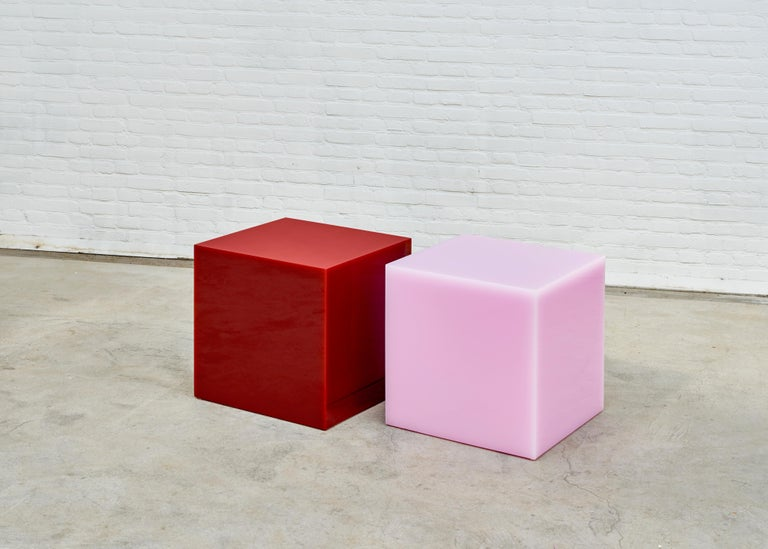 Dutch Contemporary Glossy Resin Side Table, Candy Cube in Bubblegum Pink, 60 cm3 For Sale