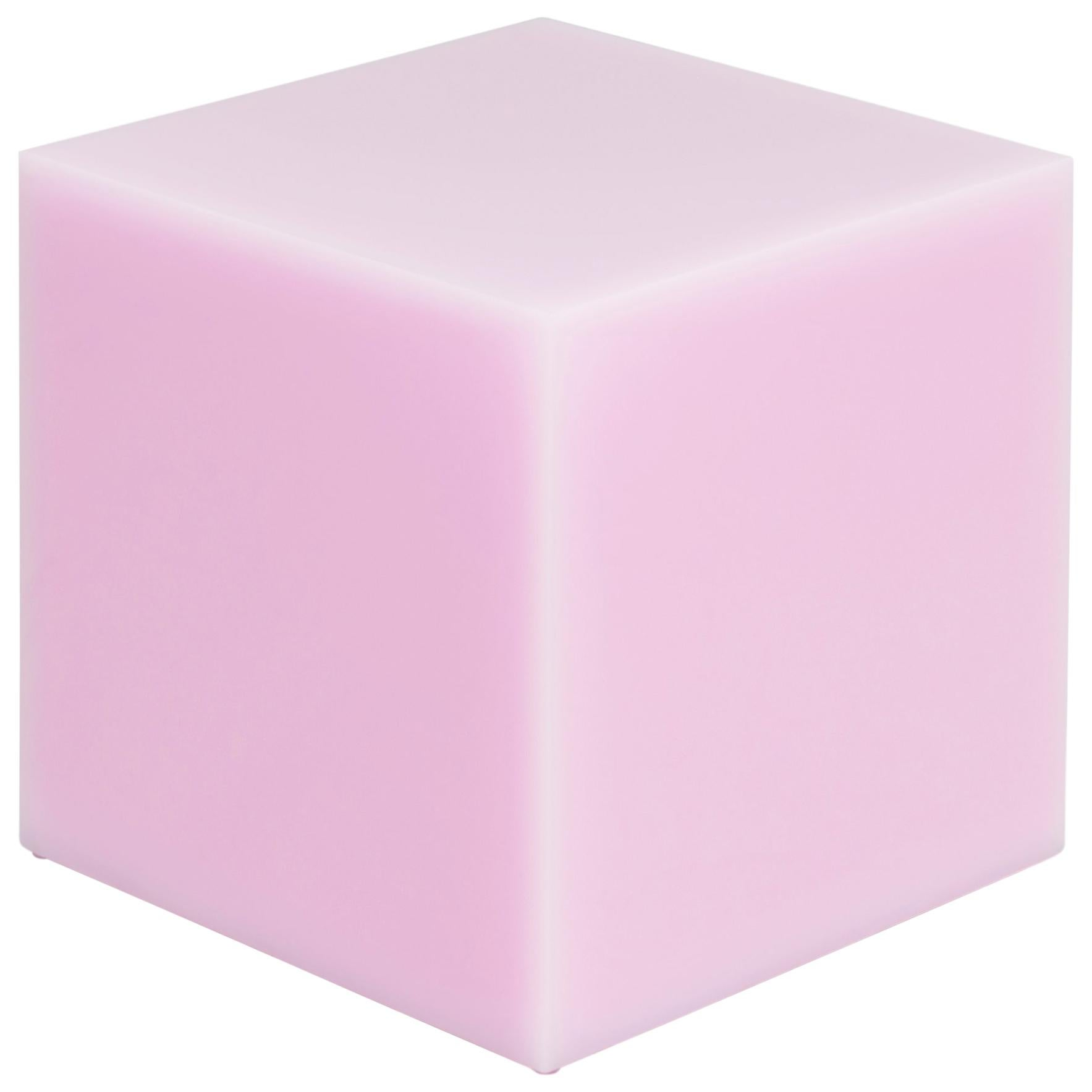 Contemporary Glossy Resin Side Table, Candy Cube in Bubblegum Pink, 60 cm3