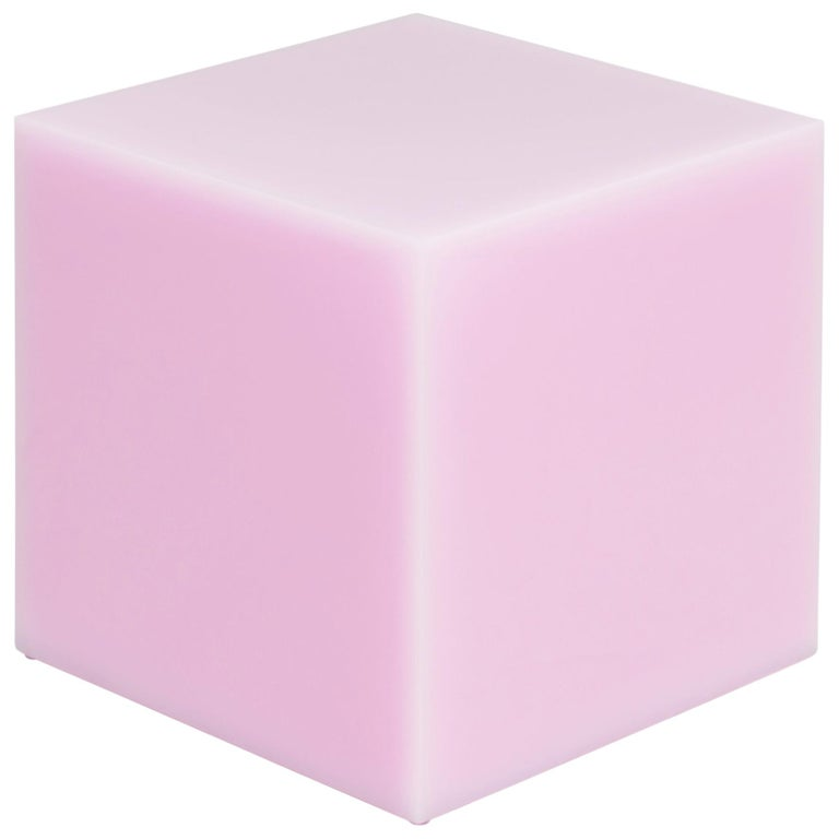 Contemporary Glossy Resin Side Table, Candy Cube in Bubblegum Pink, 60 cm3 For Sale