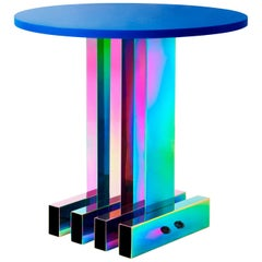 Contemporary Side Table / Dining Table, HOT Collection, Gradient Stainless Steel
