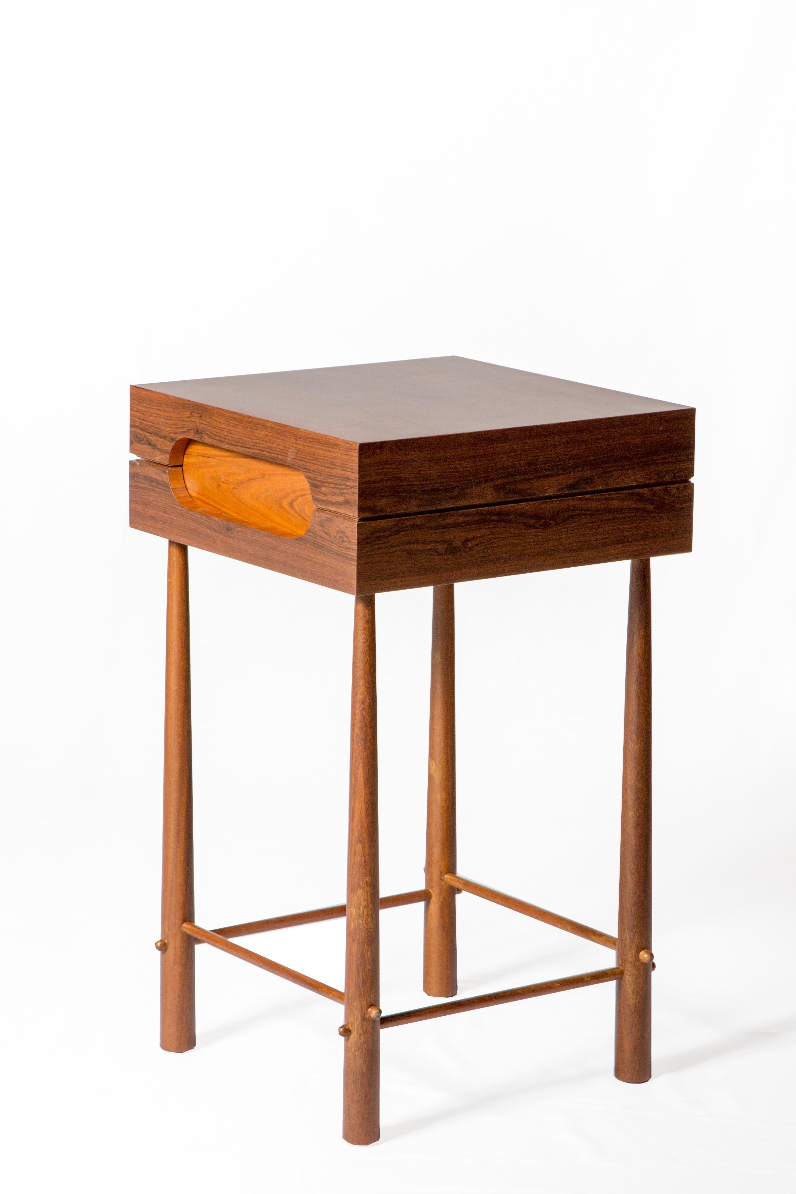 Contemporary Side Table, High Side Table In Brazilian Wood