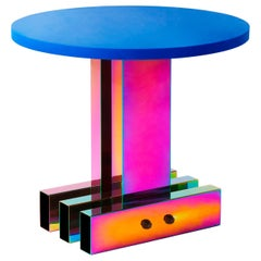 Contemporary Side Table, HOT Collection, Gradient Stainless Steel