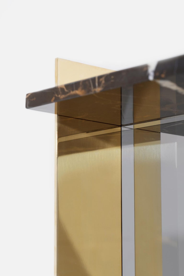 Contemporary Side Table in Brass, Marble and Acrylic For Sale 4