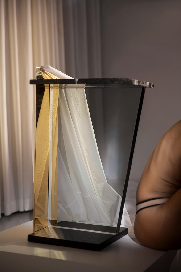 Contemporary Side Table in Brass, Marble and Acrylic For Sale 6