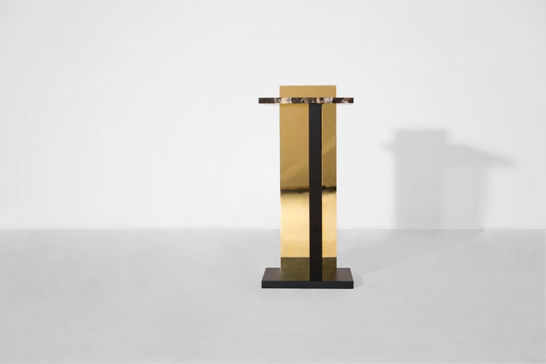 """Sidetable """"Servant"""" by Berlin based design studio VAUST is a contemporary design object handmade in Berlin-Germany. It is made of light-grey acrylic glass, black stained oak, Michelangelo marble and mirror polished brass.  Servant is at steady"""