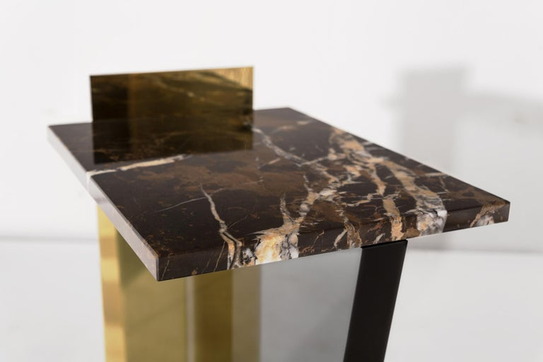 Polished Contemporary Side Table in Brass, Marble and Acrylic For Sale