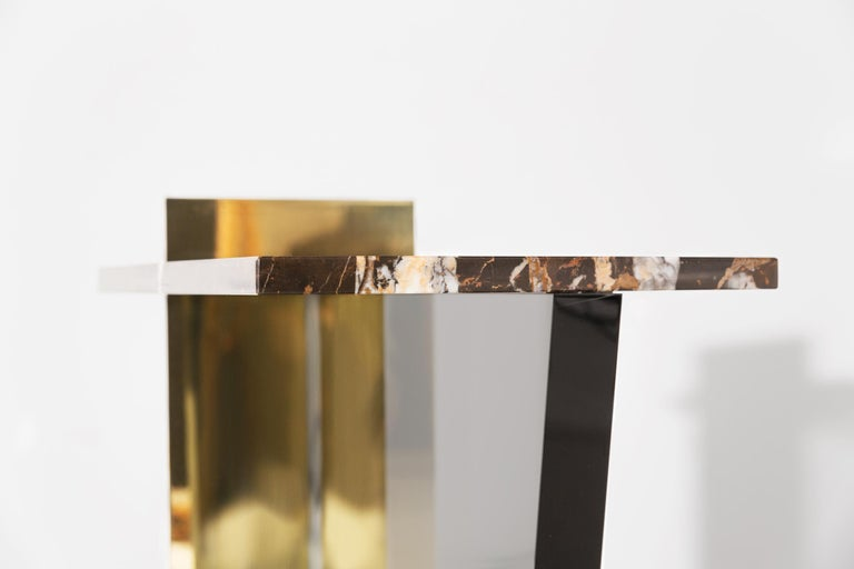 Contemporary Side Table in Brass, Marble and Acrylic In Excellent Condition For Sale In Berlin, DE