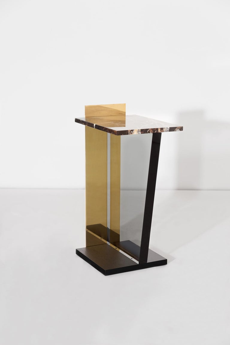 Contemporary Side Table in Brass, Marble and Acrylic For Sale 1