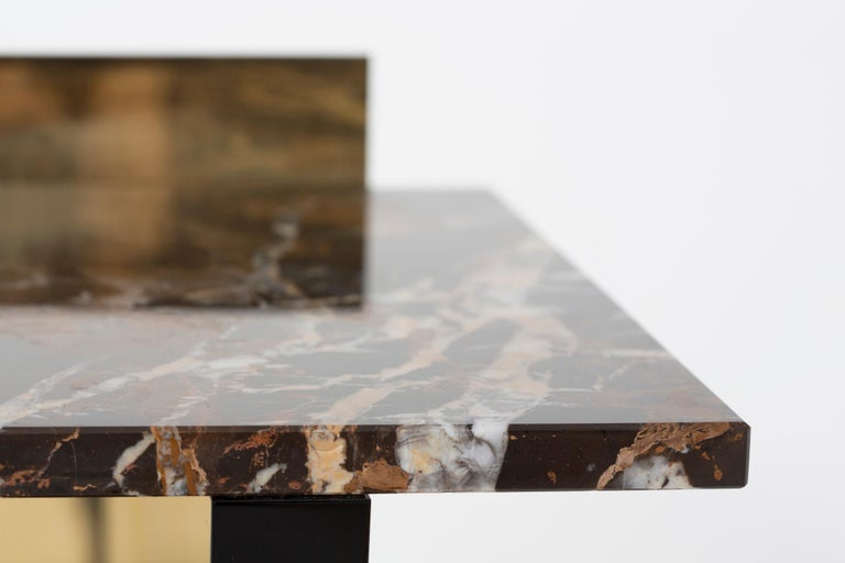 Contemporary Side Table in Brass, Marble and Acrylic For Sale 2