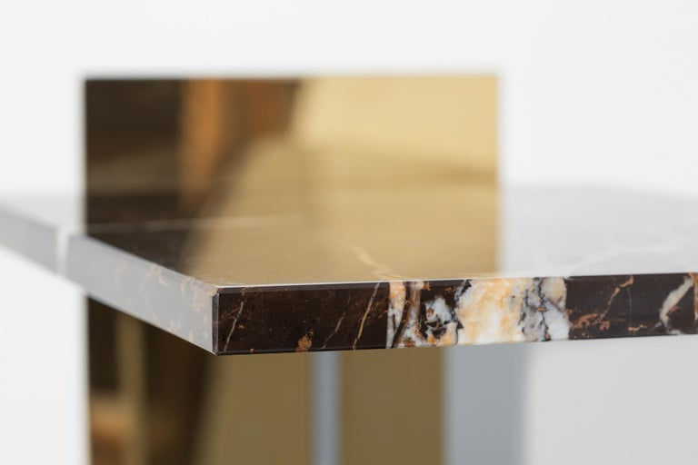 Contemporary Side Table in Brass, Marble and Acrylic For Sale 3