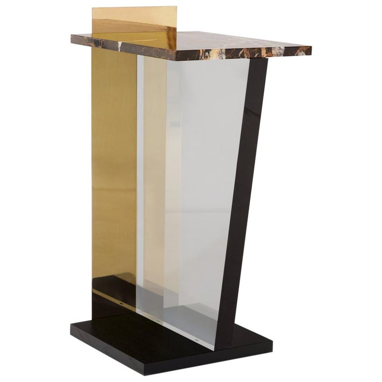 Contemporary Side Table in Brass, Marble and Acrylic For Sale