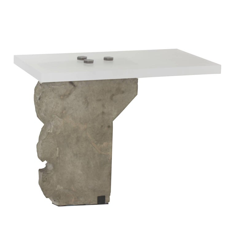 Post-Modern Contemporary Side Table in Stone by Gustavo Neves, Brazilian Design For Sale