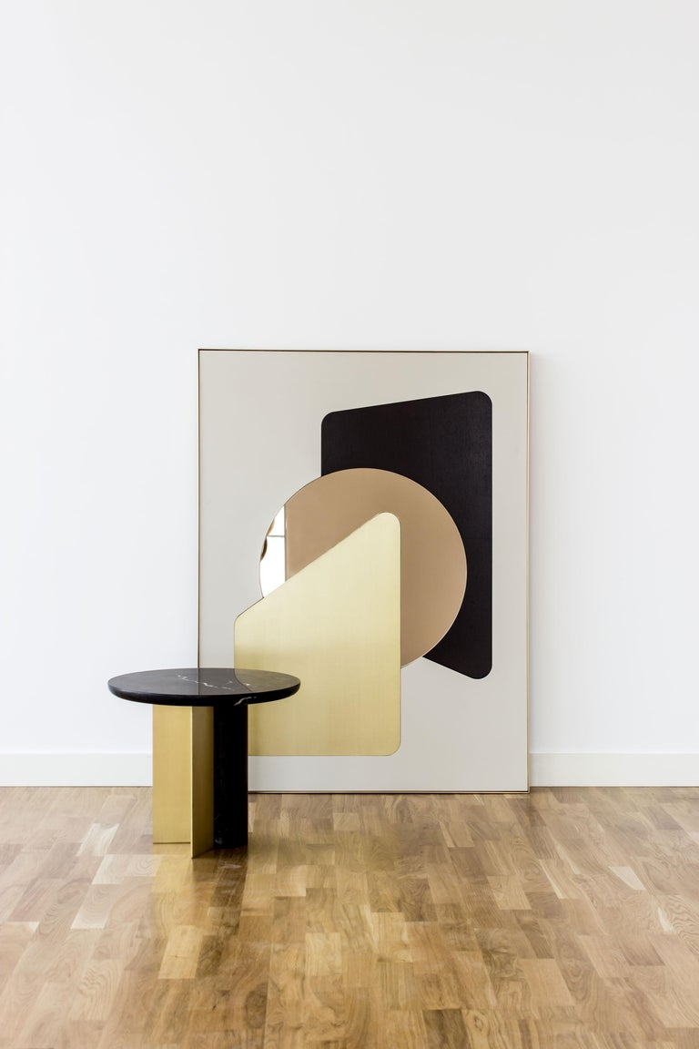 Contemporary Side Table INT, ST in Brushed Brass and Marble In New Condition For Sale In Firenze, IT
