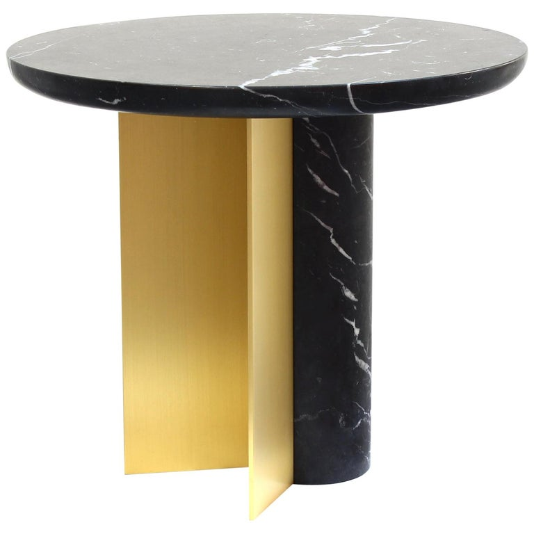 Contemporary Side Table INT, ST in Brushed Brass and Marble For Sale