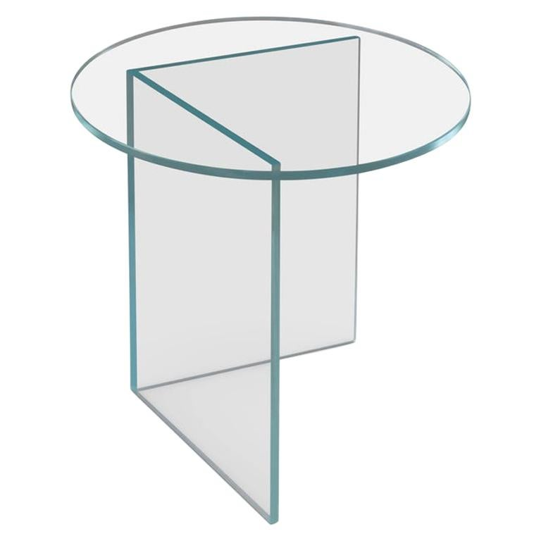 Contemporary Side Table 'Pond' Clear Glass