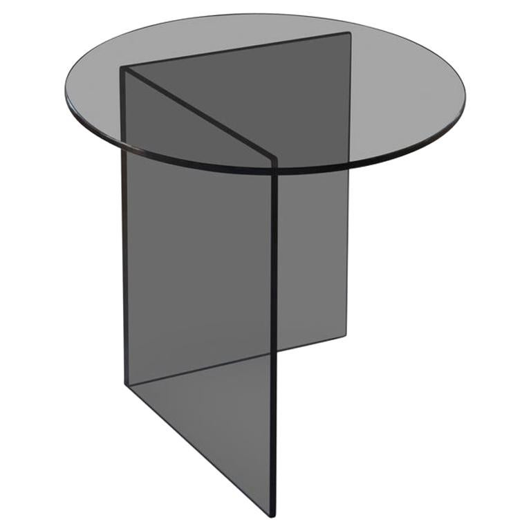 Contemporary Side Table 'Pond' Grey Glass