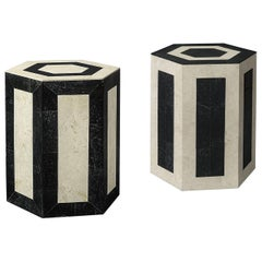 Set of 2 Laser Cut Stone Geometric Side Tables in Black and Cream
