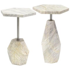 Set of 2, Contemporary Geometric Marble Side Tables with Gold Finished Metal