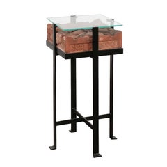 Contemporary Side Table with Antique Italian Red Brick Top and Custom Iron Base