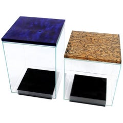 Contemporary Side Tables Made of Murano Kind Glass, Multi-Layered, Textured