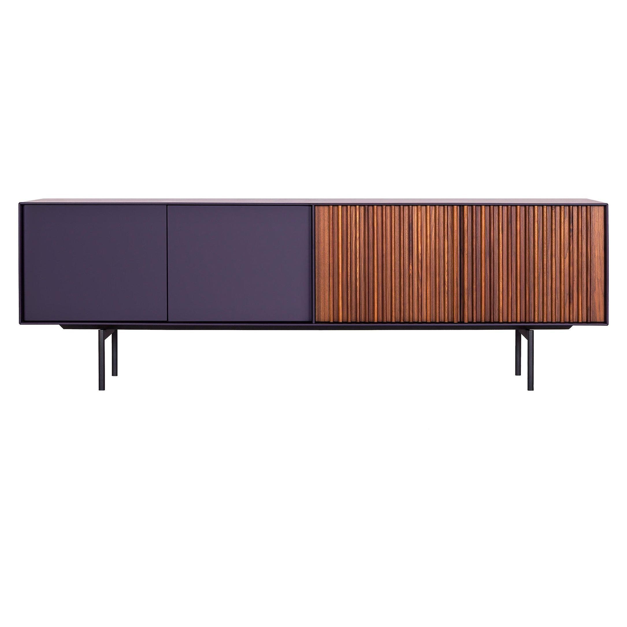 Contemporary Sideboard in American Walnut & Purple Lacquer