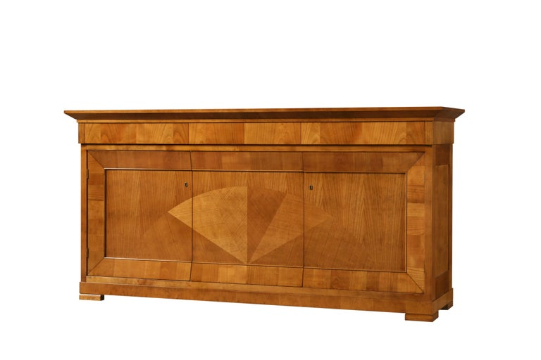 Italian Contemporary Sideboard in Biedermeier Style, Made of Cherry Wood For Sale