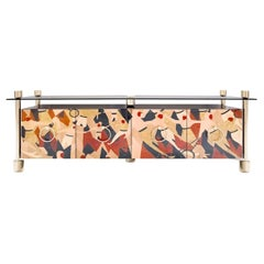 Modern Sideboard in Wood Marquetry and Gold Stainless Steel & Glass Top
