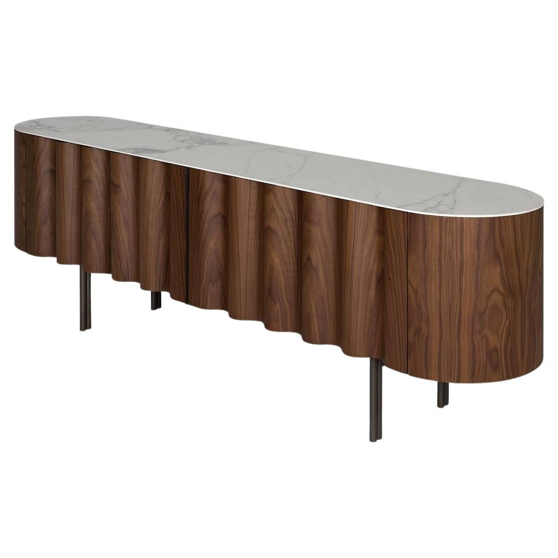 Contemporary Sideboard in Walnut and White Ceramic Top