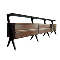 Contemporary Sideboard or Console in Walnut with Magazine Rack and Tiered Shelf