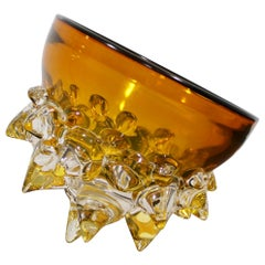 Contemporary Signed Yellow Spiked Glass Art Bowl by Andrew Madvin Dated 2000s