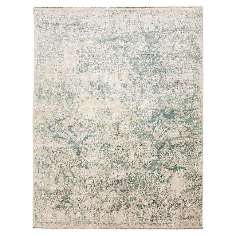 Zeitgenossische Seide Und Wolle Teppich Abstrakte Muster Grun
