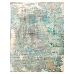 Contemporary Silk and Wool Rug, Abstract Design over Gray and Turquoise Colors.